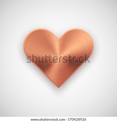 Bronze abstract heart sign badge, Valentines day blank button template with metal texture, chrome, steel, silver, copper, realistic shadow and light background. 14th february. Vector illustration. - stock vector
