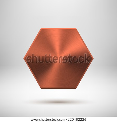 Bronze abstract technology polygon, hex badge, blank button template with metal texture (chrome, steel), realistic shadow and light background for user interfaces, UI, applications, apps. Vector. - stock vector