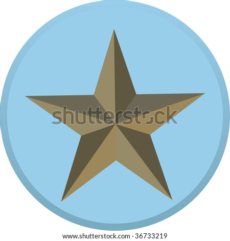 Bronze military star on blue background - stock vector