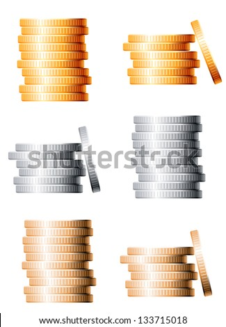Bronze, silver and gold stacks of coins isolated on white background. Jpeg (bitmap) version also available in gallery