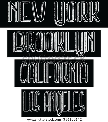 brooklyn - new york - california - los angeles slogan typography, t-shirt graphics, vectors - stock vector