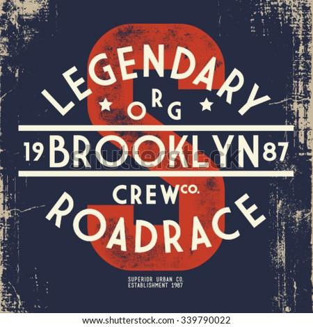 brooklyn print design for t-shirt - stock vector