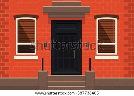 Brick Apartment Building Illustration. Brooklyn Red brick apartment building  Flat vector illustration Brick Apartment Building Stock Vector 587738405