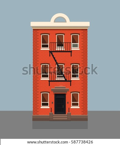 Brooklyn Red Brick Apartment Building. Flat Vector Illustration. Part 45