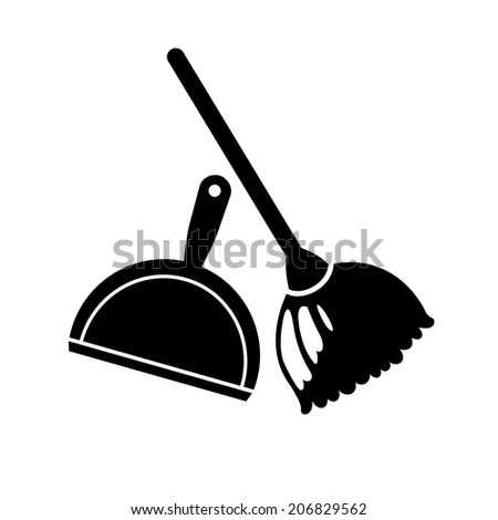 Broom and dustpan icon - stock vector
