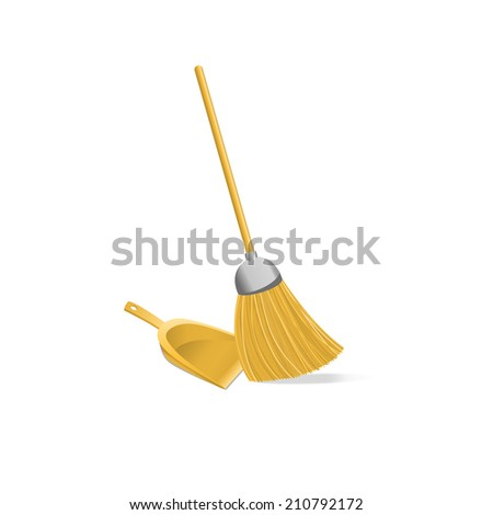 Broom And Dustpan isolated on  white background - stock vector