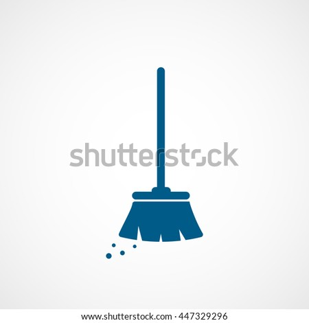 Broom Blue Flat Icon On White Background