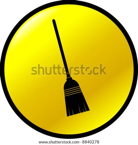 broom button - stock vector
