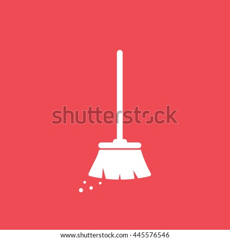 Broom Flat Icon On Red Background