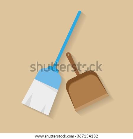 Broom icon vector. Flat design - stock vector