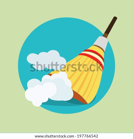broom in dust clouds flat icon design - stock vector