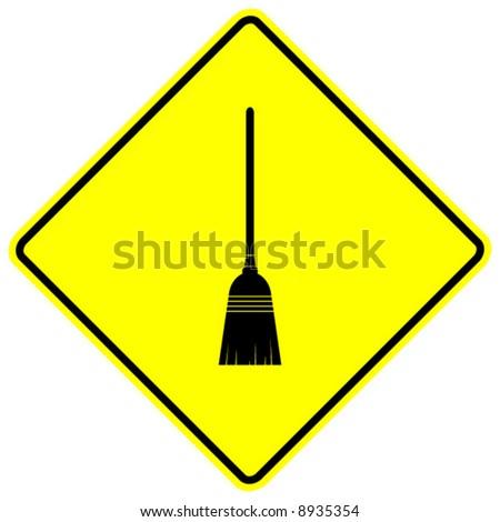 broom sign - stock vector