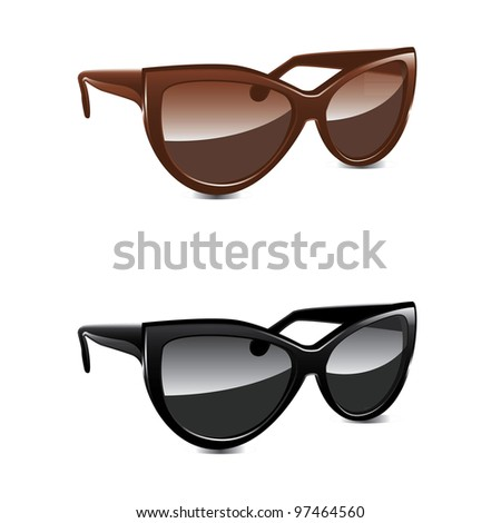 Brown and black glasses - vector illustration on white background - stock vector