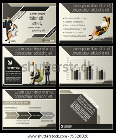 Brown and black template for advertising brochure with business people - stock vector