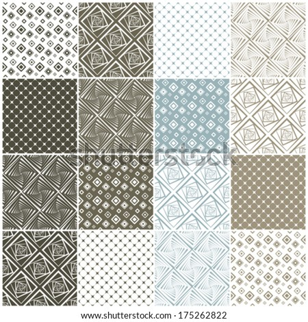 brown and blue geometric seamless patterns with squares, vector illustration