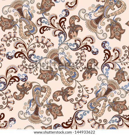 brown and blue paisley design with decorative bells on a beige background - stock vector