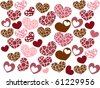 Brown and Pink Hearts Pattern - stock vector