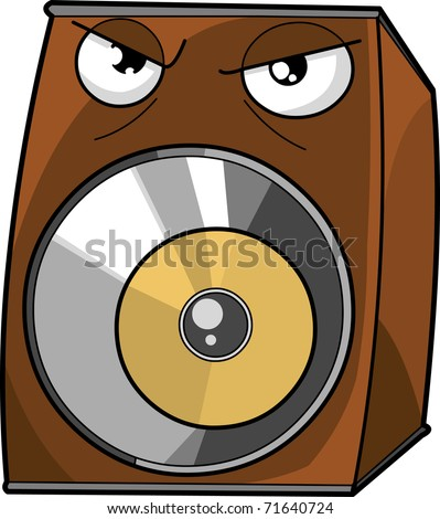 Brown Angry speaker cartoon vector illustration isolated on white background - stock vector