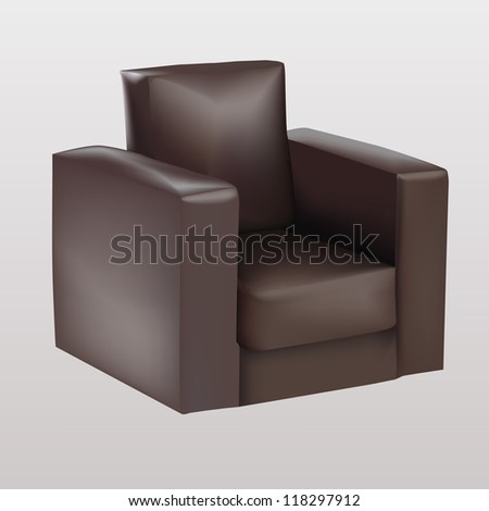 Brown armchair - stock vector