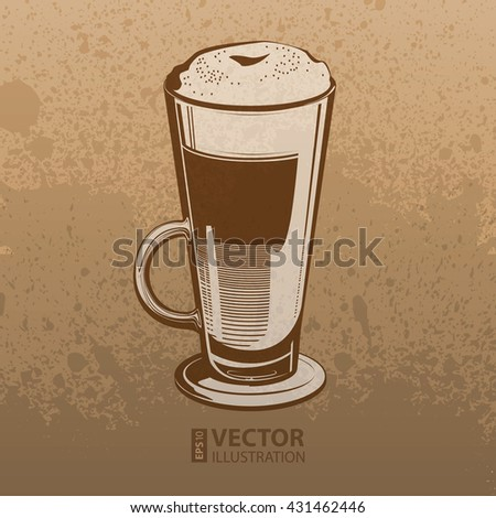 Brown artistic hand drawn coffee latte high glass on mocha dirty grunge splats background. RGB EPS 10 vector illustration - stock vector