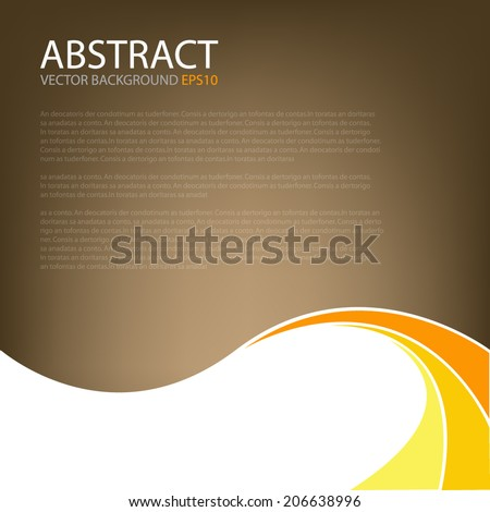 Brown background earth tone with yellow curve line on white background for text and message modern website design - stock vector