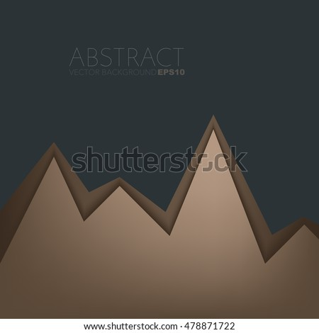 Brown background serrated paper layer with line on black dark space for text and message design