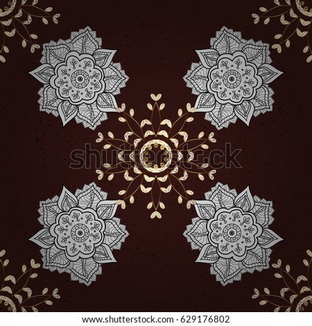 Brown background with golden elements. Oriental ornament in the style of baroque. Traditional classic vector golden pattern.