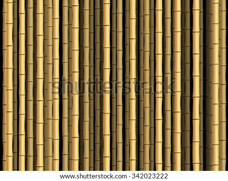 Brown bamboo poles forest background. - stock vector
