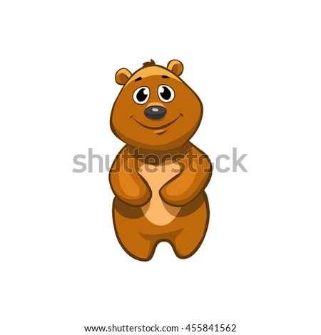 Brown Bear Cartoon Character. Emotion: smiling
