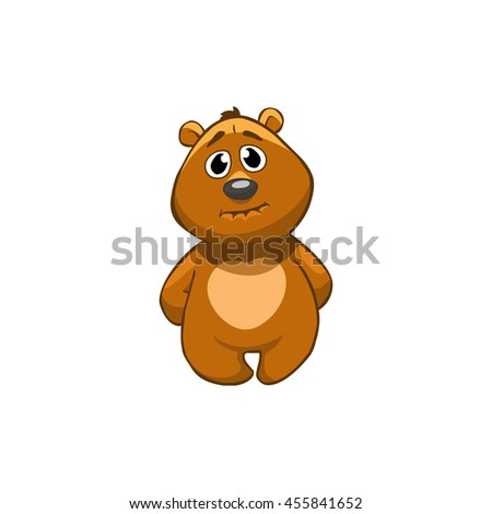 Brown Bear Cartoon Character. Guilty