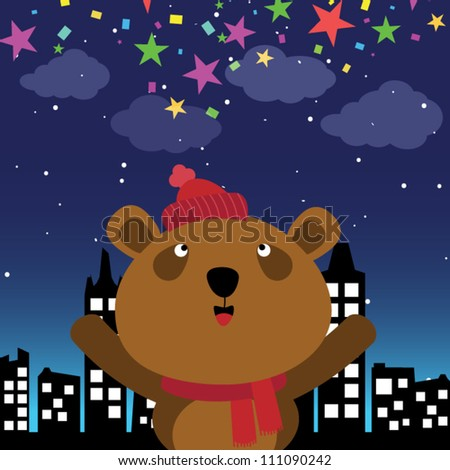 Brown bear in the city at night - stock vector
