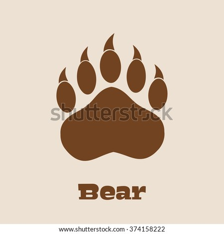 Brown Bear Paw With Claws Vector Illustration Background And Text - stock vector