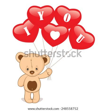brown bear with heart balloon love - stock vector