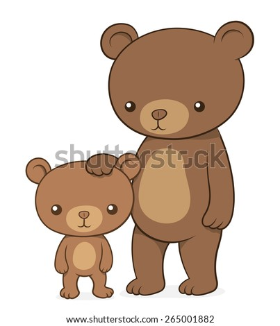 Brown bear with her cute little cub teddy standing upright with the mother family patting the baby on the head , cartoon vector design element, clipart on white - stock vector