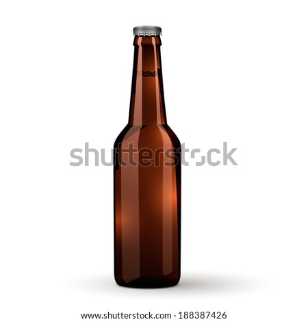 Brown beer bottle icon isolated on white background. Vector Illustration