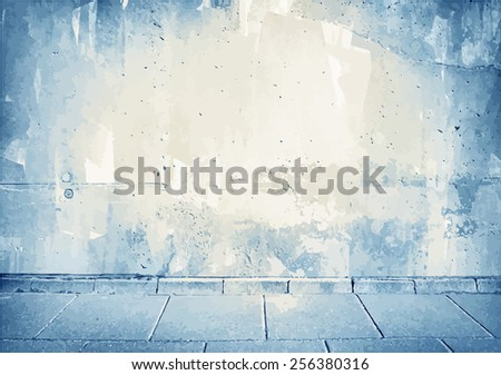 Brown,blue grunge concrete wall texture with sidewalk.  - stock vector