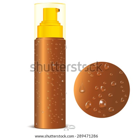 Brown Bottle Spray with Realistic Water Droplets. Cosmetic Packaging for Spray Product,  Oil and Other Product. Isolated Vector illustration. Plastic Pack Template Ready For Your Design. - stock vector