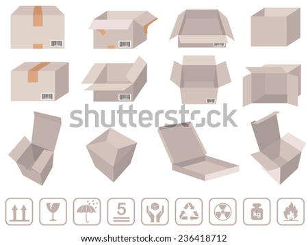 Brown box packaging - Vector cardboard boxes with signs - stock vector