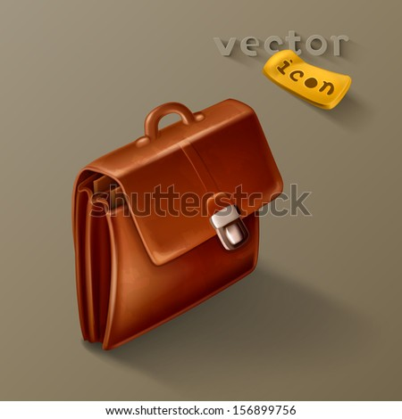 Brown briefcase icon - stock vector
