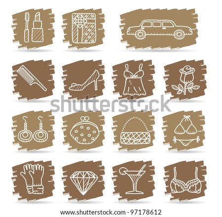 Brown brush series   Fashion,Beauty,women accessory icon set