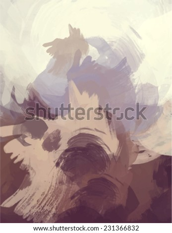 Brown brush stroke paint. Abstract illustration. - stock vector