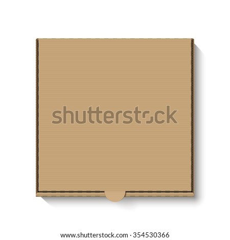 Brown cardboard pizza box for your design. Vector. - stock vector
