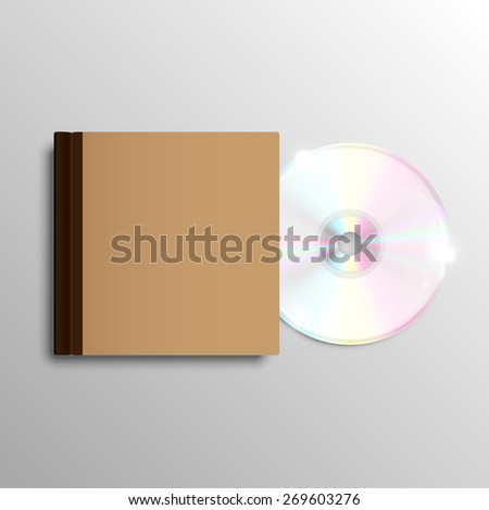 Brown CD case, vector - stock vector