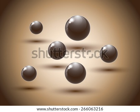 Brown chocolate balls on colorful background. Vector illustration. - stock vector