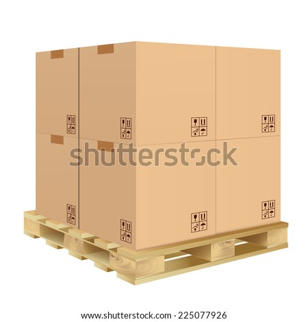 Brown closed carton delivery packaging box with fragile signs on wooden pallet isolated on white background vector illustration. - stock vector