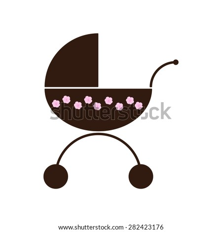 Brown colored prams decorated with pink flowers isolated on white background. Logo template, design element - stock vector