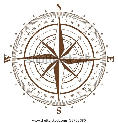 Brown compass rose isolated on white - vector - stock vector