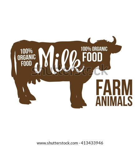 brown contour cow farm animals with a white inscription inside, vector cow animals, cattle, horned animal, domestic cow, food, animal outline for the product with lettering on the beef meat, cow logo - stock vector