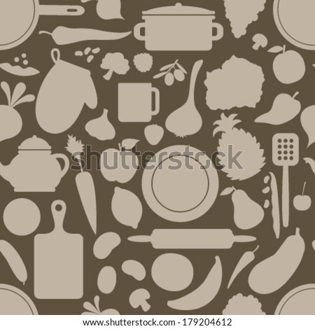 brown cook seamless pattern - stock vector