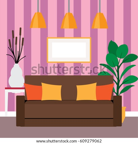 Brown Couch Living Room Next Home Stock Vector 609279062 - Shutterstock